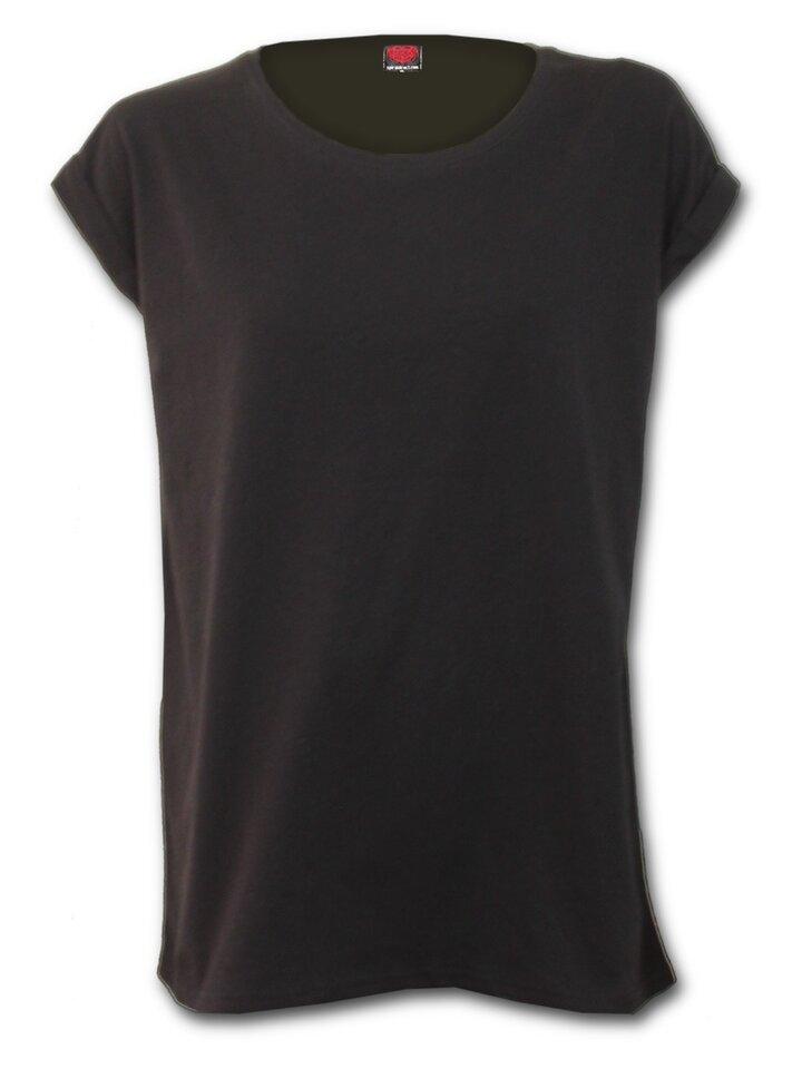 Foto Damen schwarzes T-Shirt mit freien kurzen Ärmeln Urban