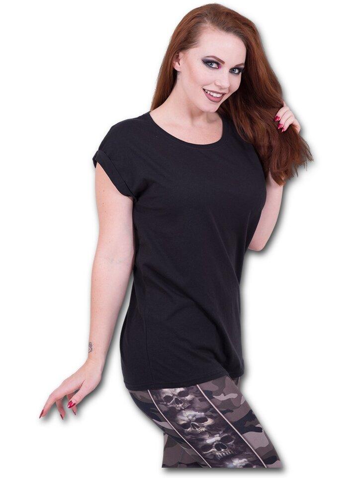 Cadou original de la Dedoles Tricou damă negru cu mânecă scurtă largă Urban