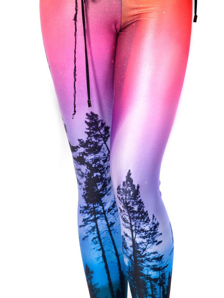 Rabatt Damen Leggings Elastisch Zauberhafter Wald
