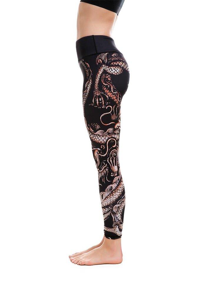 Kedvezmény Női sportos elasztikus leggings Kínai sárkány