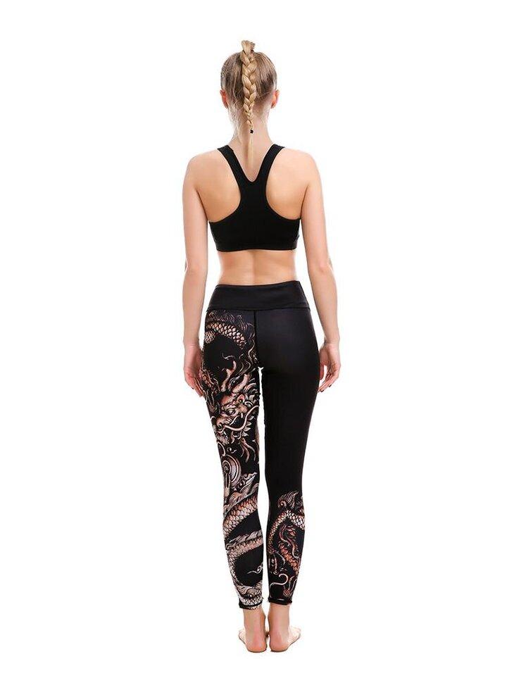 Foto Női sportos elasztikus leggings Kínai sárkány