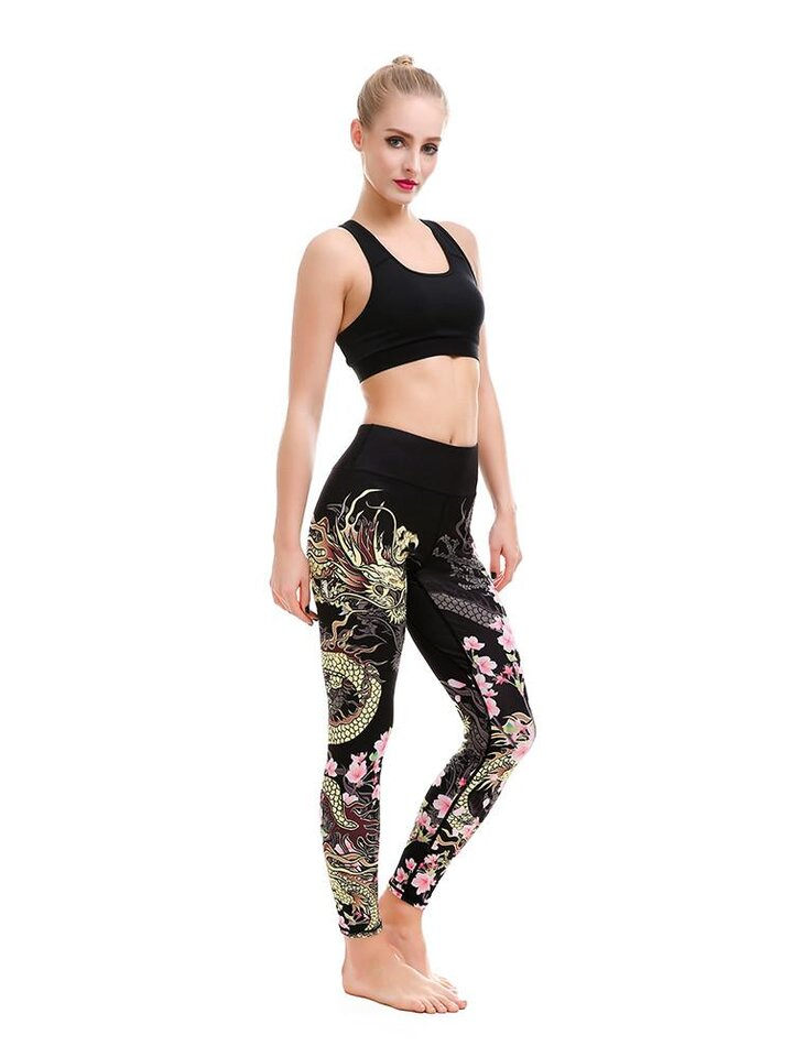 Looking for an original and unusual gift? The gifted person will surely surprise with Ladies' Sport Elastic Leggings Fearless Flower