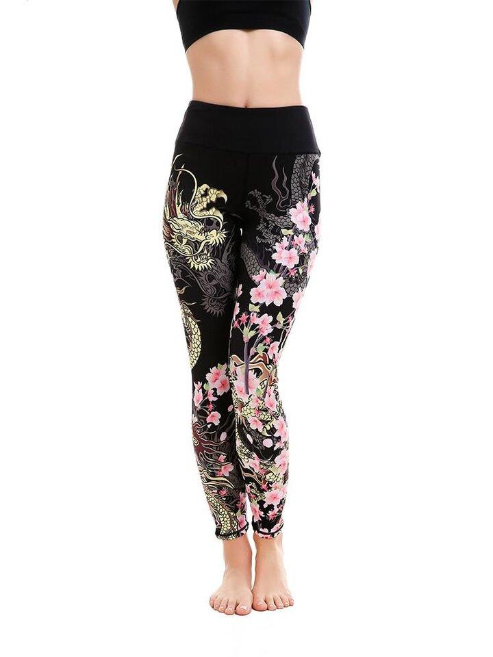 Pre dokonalý a originálny outfit Ladies' Sport Elastic Leggings Fearless Flower