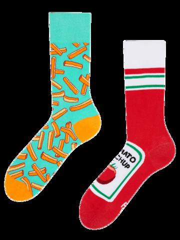 Foto Lustige Socken Pommes mit Ketchup