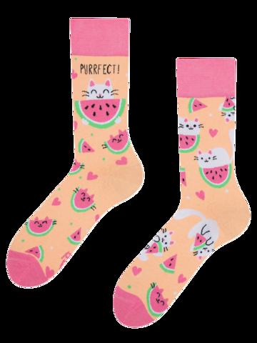 Výnimočný darček od Dedoles Veselé ponožky Mačka s melónom
