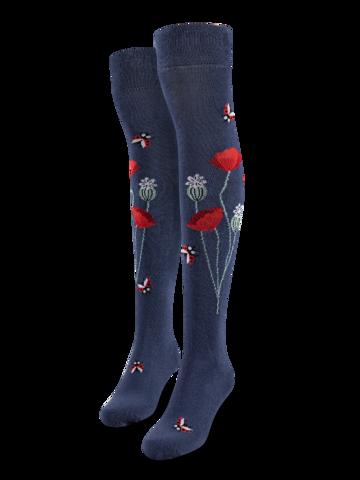 Lifestyle photo Over the Knee Socks Ladybugs & Poppy Flowers