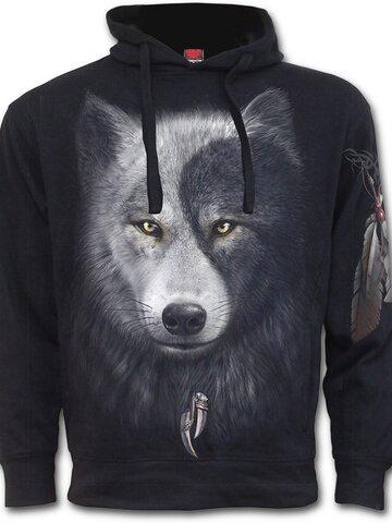 Tip na darček Mikina s kapucňou a bočným vreckom Tvár vlka