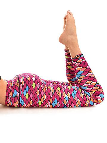 Pre dokonalý a originálny outfit Ženske športne elastične pajkice Ribje luske