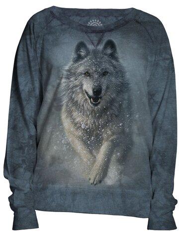 Hľadáte originálny a nezvyčajný darček? Obdarovaného zaručene prekvapí Dámska modrá mikina Snežný vlk