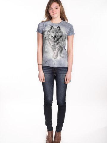 Foto Damen T-Shirt Schneewolf