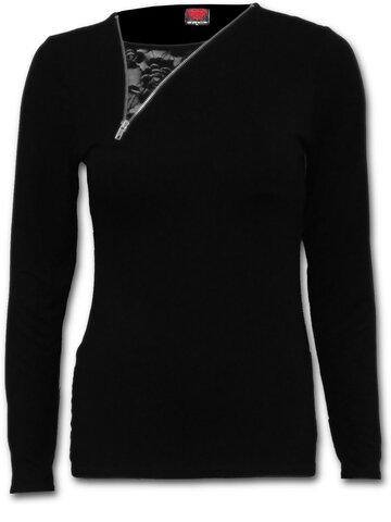 Pre dokonalý a originálny outfit Tričko 2v1 so zipsom Čierne