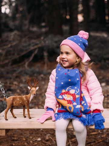 Foto Vidám kötött gyerek sapka Elbűvölő őzike