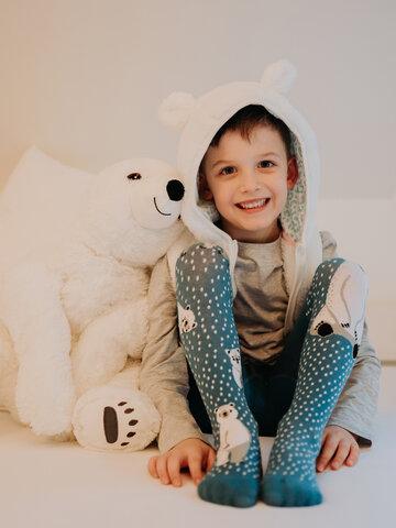 Lifestyle foto Živahne otroške hlačne nogavice Polarni medvedi
