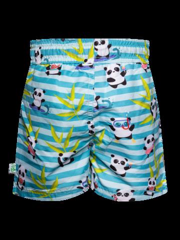 Pre dokonalý a originálny outfit Veselé chlapčenské plavkové šortky Panda na dovolenke