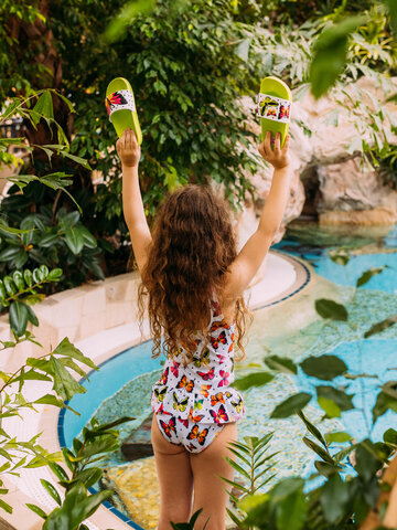 Sale Girls' Swimsuit Colourful Butterflies