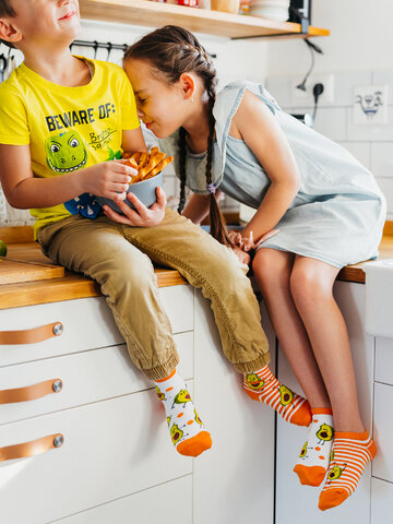 Lifestyle foto Veselé detské členkové ponožky Vtipné avokádo