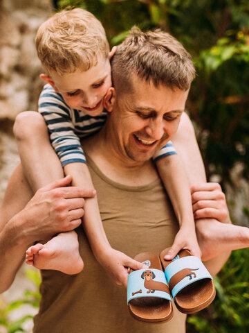 Foto Veselé dětské pantofle Dlouhý jezevčík
