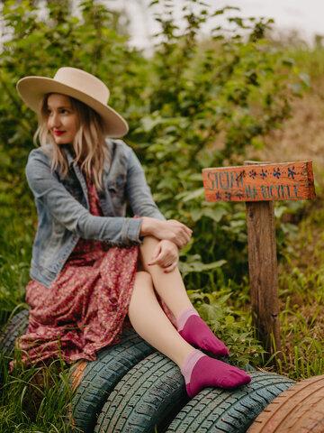 Tip na darček Bordovo-ružové členkové ponožky Symfónia