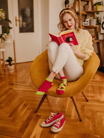 Výprodej Veselé kotníkové  ponožky Červený meloun