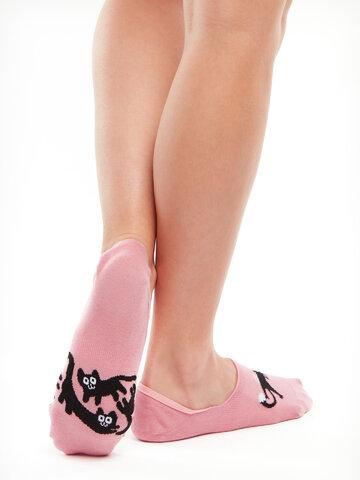 ZNIŻKA Wesołe krótkie skarpetki Różowe koty