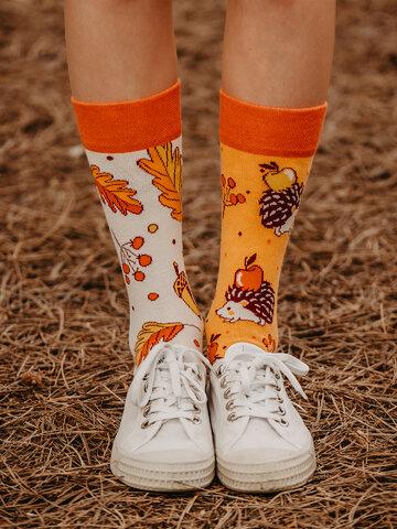Foto Skarpetki wesołe bawełniane z recyklingu Jesienny jeż
