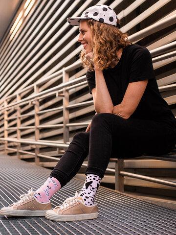 Foto Șosete Vesele din Bumbac Reciclat Dalmațieni Roz
