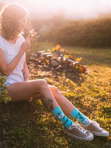 Lifestyle foto Chaussettes rigolotes en coton recyclé Perce-neiges