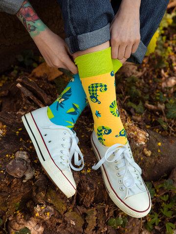 Potěšte se tímto kouskem Dedoles Veselé ponožky Chameleon a hmyz