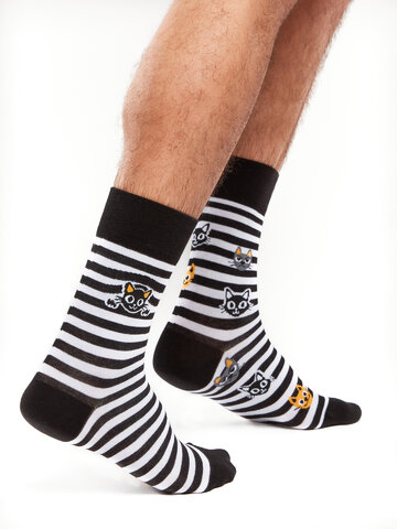 Tip na darček Chaussettes rigolotes Chats et rayures