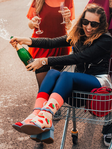 Original gift Regular Socks Champagne & Strawberry