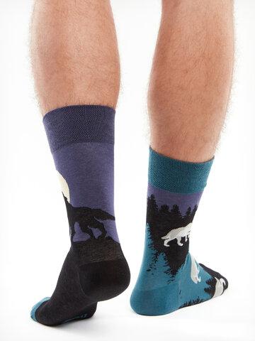 Lifestyle foto Veselé ponožky Vlk za úplňku