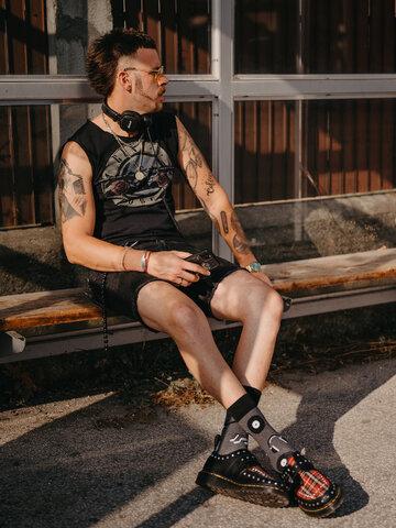 Výprodej Veselé ponožky z recyklované bavlny Černobílá hudba