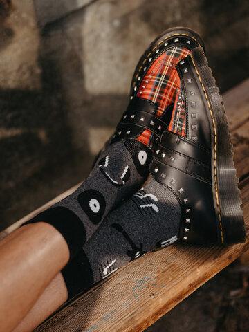 Sleva Veselé ponožky z recyklované bavlny Černobílá hudba