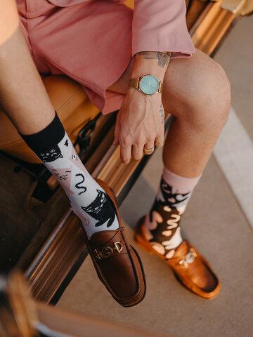 Tip na darček Veselé ponožky z recyklovanej bavlny Ospalé mačky