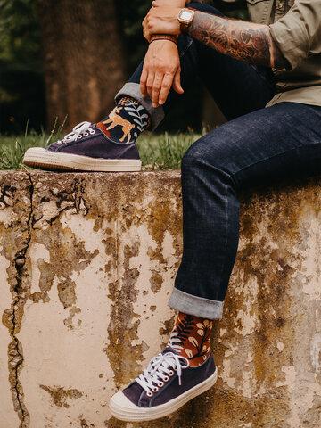 Lifestyle foto Veselé bambusové ponožky Srnka