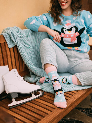 Gift idea Regular Socks Skating Penguin