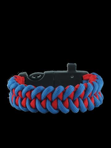 Výpredaj Modro-červený paracord náramok s kresadlom, kompasom a píšťalkou Shark