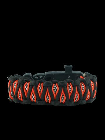 Pre dokonalý a originálny outfit Oranžovo-čierny paracord náramok s kresadlom, kompasom a píštalkou Inachis