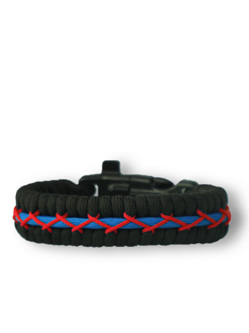 Sale Black, Red & Blue Paracord Bracelet TrackWith Fire Starter, Compass and Whistle