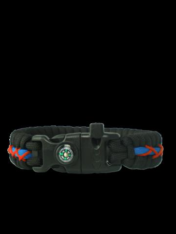 Pre dokonalý a originálny outfit Black, Red & Blue Paracord Bracelet TrackWith Fire Starter, Compass and Whistle
