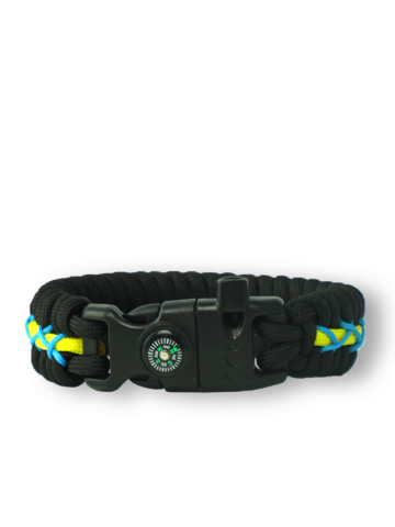 Pre dokonalý a originálny outfit Crna, žuta i plava narukvica Track od padobranskog užeta s potpaljivačem, kompasom i zviždaljkom