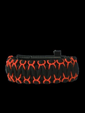 Tip na darček Гривна от паракорд Warrior в черно и оранжево, с нож, запалка, компас и свирка