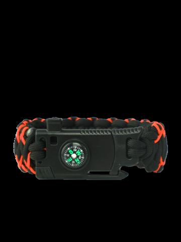 Obrázok produktu Гривна от паракорд Warrior в черно и оранжево, с нож, запалка, компас и свирка