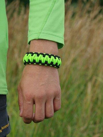 Výprodej Paracord survival náramek s nastavitelným zapínáním - zeleno-černý