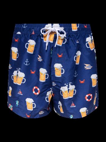 für ein vollkommenes und originelles Outfit Lustige Badeshorts für Männer Bier und Boot