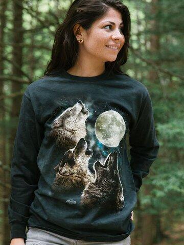 Pre dokonalý a originálny outfit Dlhý rukáv Tri vlky vyjúce na mesiac