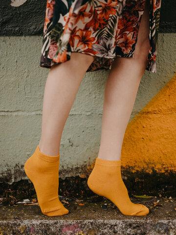 Výpredaj Bambusové členkové ponožky Horčicovo žlté
