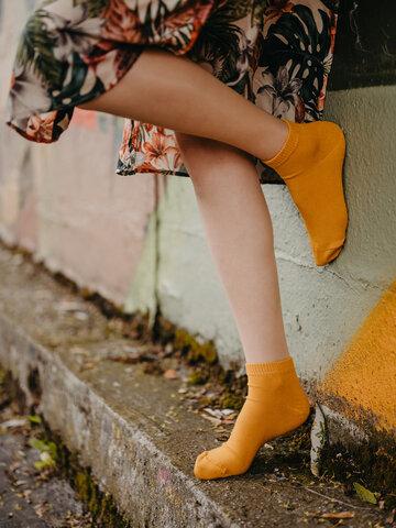 Zľava Bambusové členkové ponožky Horčicovo žlté