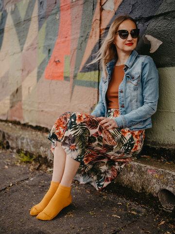 Pre dokonalý a originálny outfit Bambusové členkové ponožky Horčicovo žlté