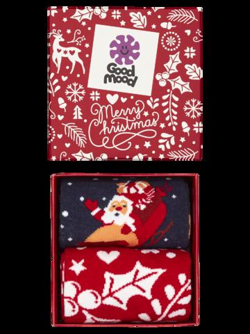 Foto Geschenkbox Weihnachtsmann und Rudolf